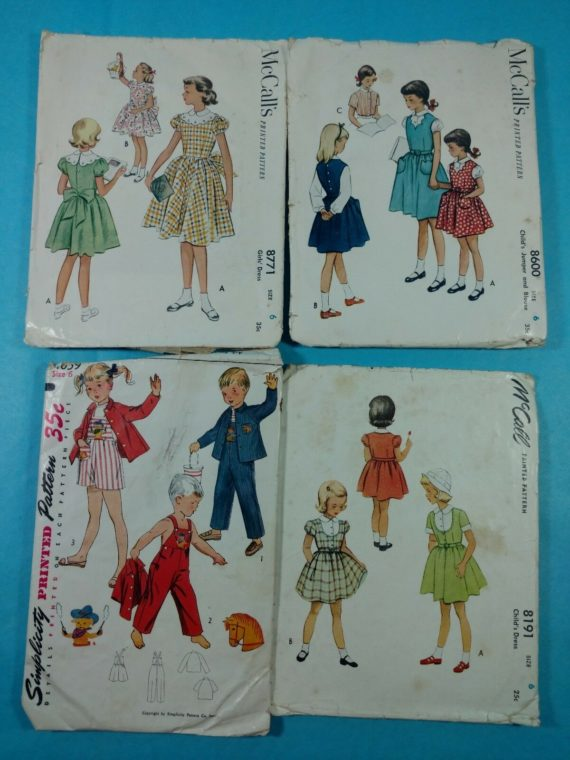 lot-127-group-of-4-vintage-sewing-patterns-mccalls-girls-sz-6-dress-outfit