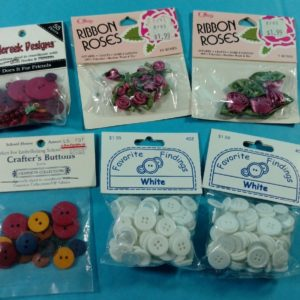 lot-2-of-vintage-buttons-from-estate-ribbon-roses-white-red-yellow
