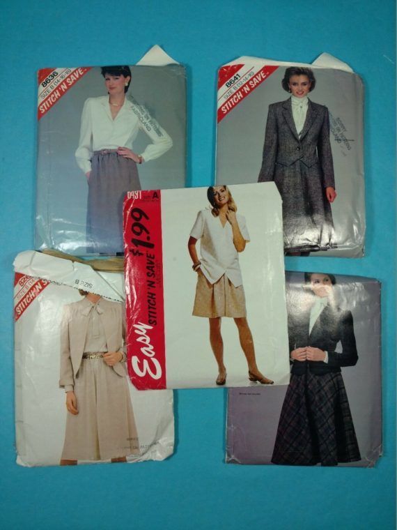 lot-81-group-of-5-vintage-sewing-patterns-mcalls-womens-dress-skirt-blouse