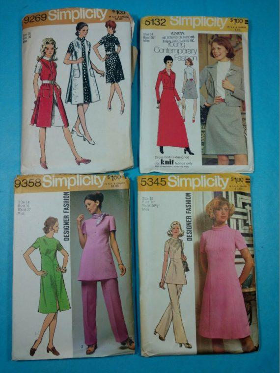 lot-9-group-of-4-vintage-sewing-patterns-simplicity-designer-fashion-12-14-16