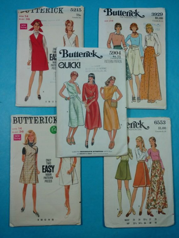 lot-92-group-of-5-vintage-sewing-patterns-butterick-womens-dresses-tops-skirts