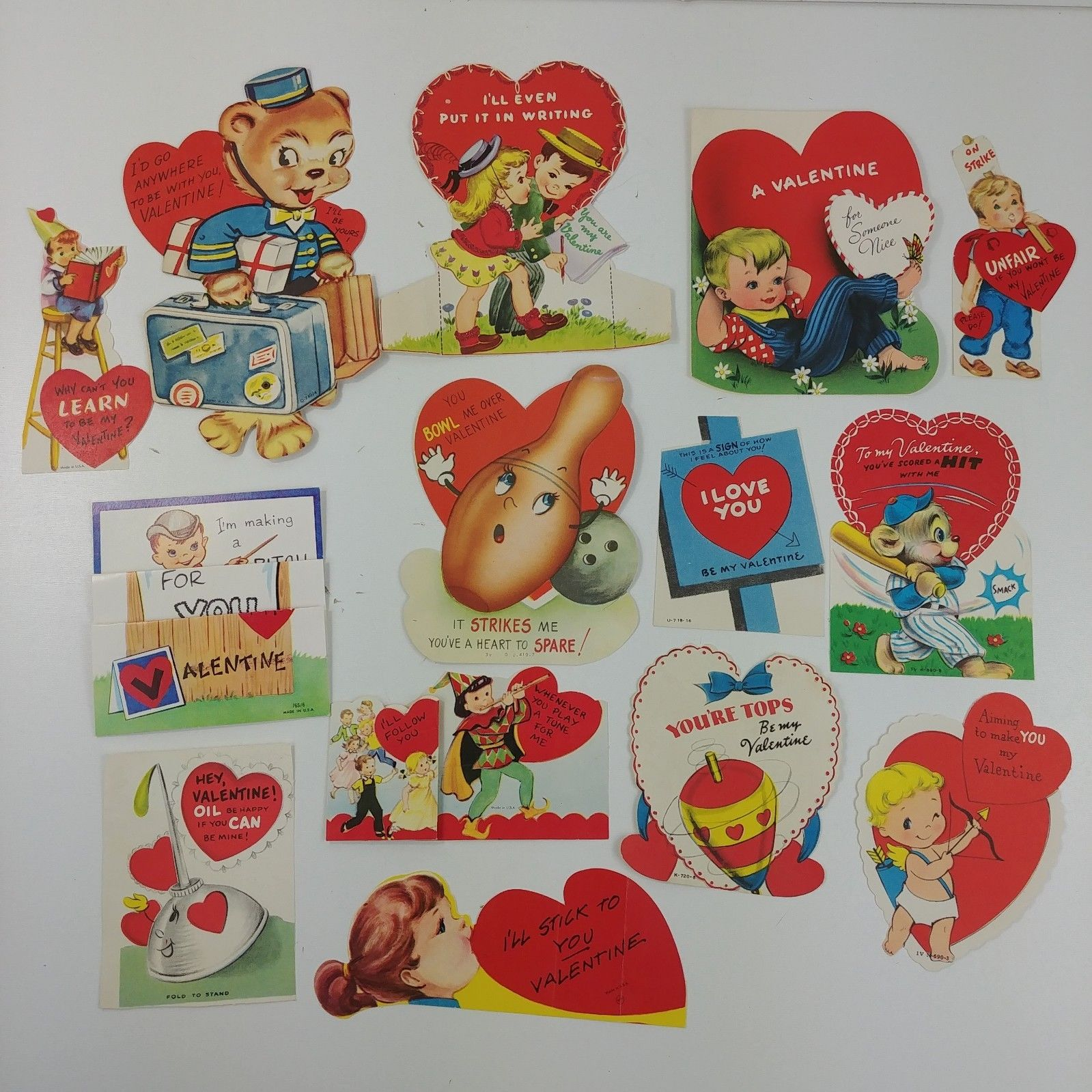 Lot of 14 Vintage Valentines Cards 1 Mechanical Bear Children Cupid Top 16