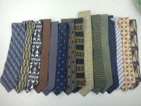 lot-of-15-silk-polyester-mens-ties-blue-green-brown-geometric-3