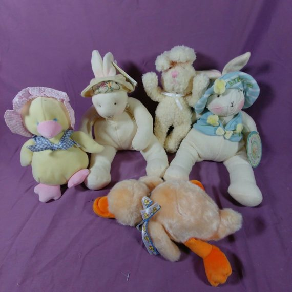 lot-of-5-easter-stuffed-animals-plush-bunny-by-the-bay-chick-duck-holiday