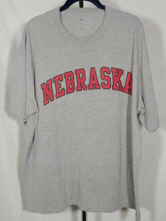 mens-t-shirt-gray-red-nebraska-sports-team-college-university-size-xl