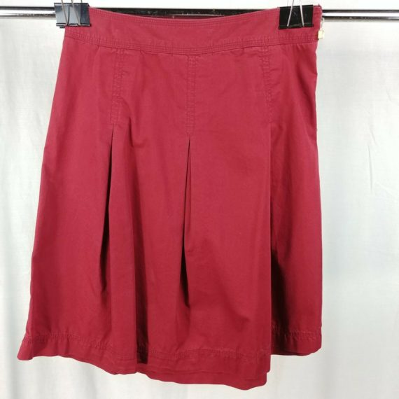 merona-red-pleated-short-above-knee-skirt-womens-size-6-100-cotton