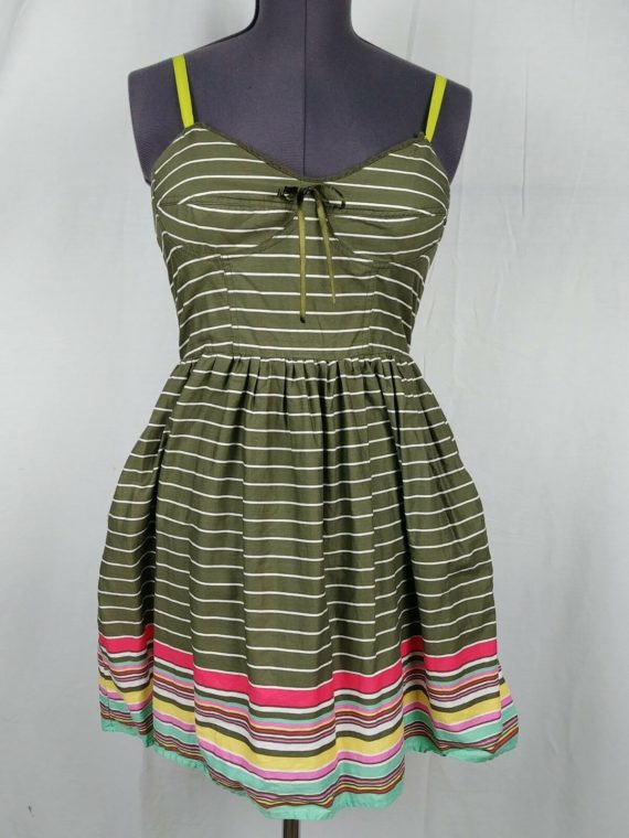mossimo-supply-co-green-striped-skater-dress-womens-juniors-size-l