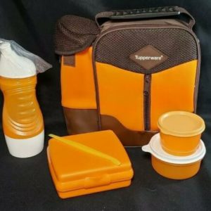 new-tupperware-insulated-lunch-bag-orange-sandwich-keeper-water-bottle-set