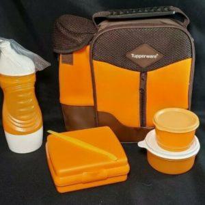 new-tupperware-insulated-lunch-bag-orange-sandwich-keeper-water-bottle-set