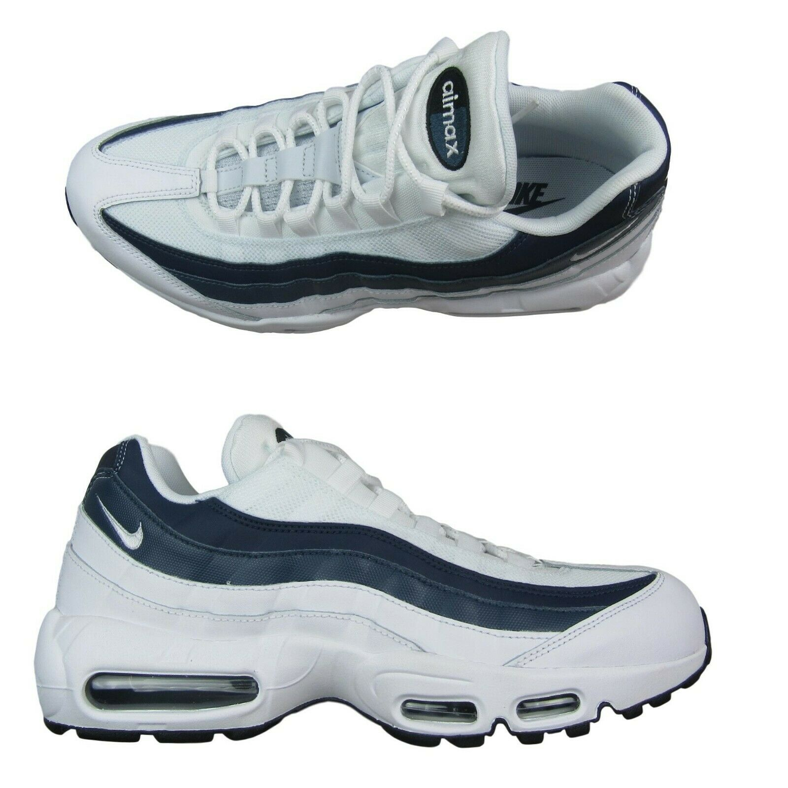 f9f79a3298 Nike Air Max 95 Essential Shoes Size 10.5 Mens White Navy Blue ...