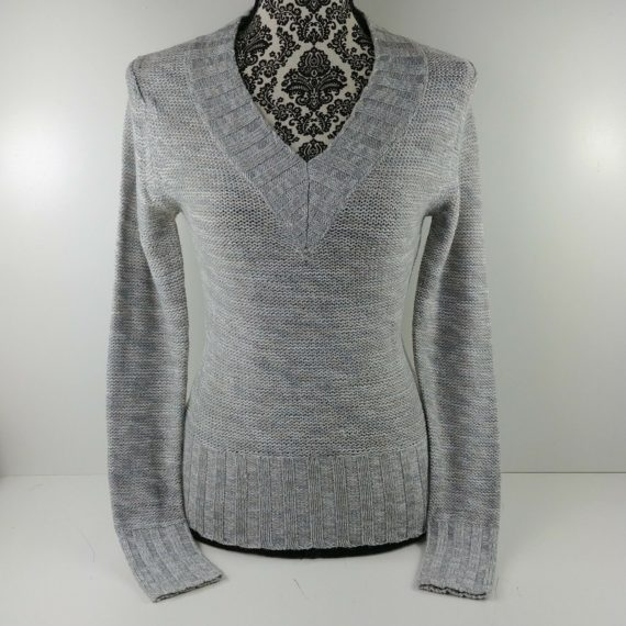 no-boundaries-size-juniors-m-7-9-silver-sparkle-sweater-long-sleeve-v-neck