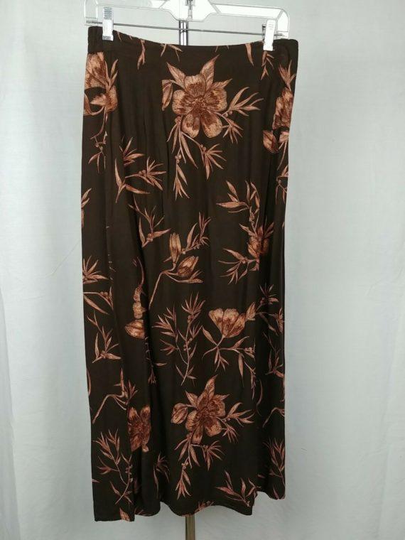 norton-mcnaughton-brown-floral-rayon-skirt-womens-size-medium