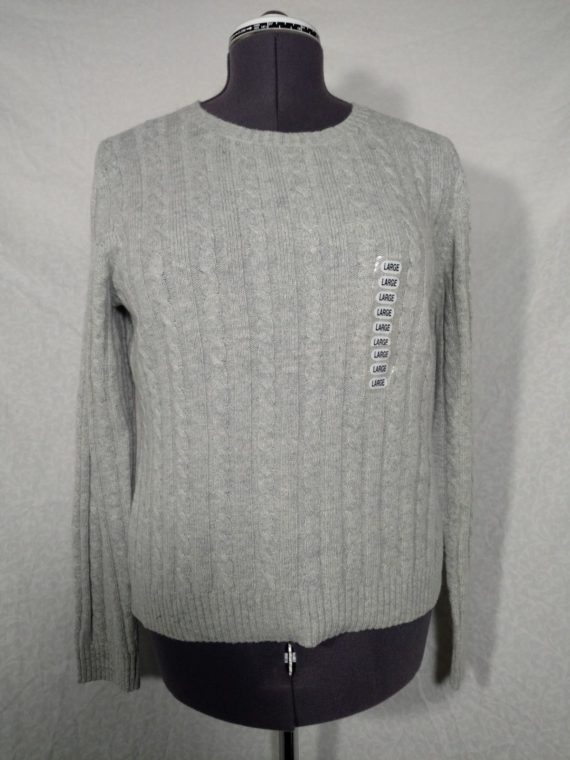 nwt-womens-sz-large-gray-knit-sweater-great-northwest-cotton-blend