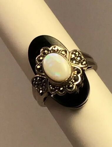 opal-marcasite-black-onyx-hearts-cluster-cocktail-ring-size