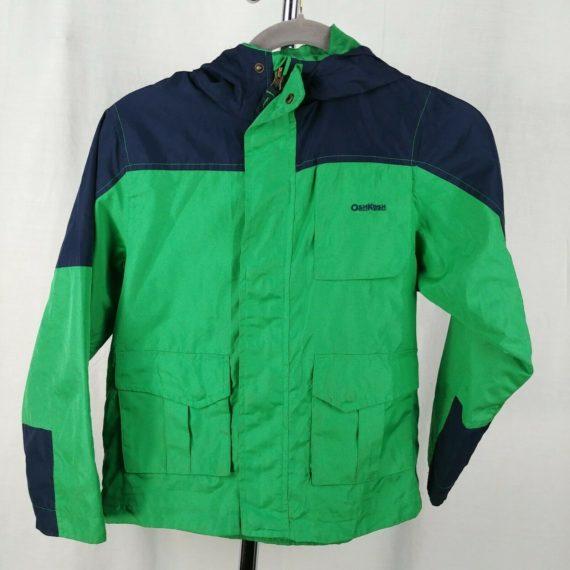 oshkosh-green-blue-kids-boys-raincoat-jacket-size-8-no-lining-outer-shell-only