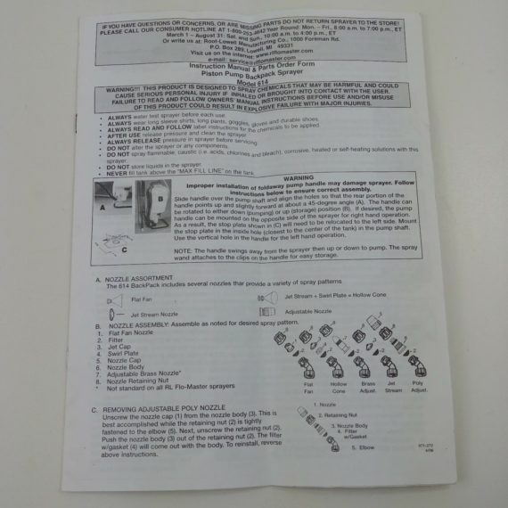 piston-pump-backpack-sprayer-model-614-instruction-manual-parts-booklet