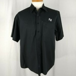 port-authority-red-robin-uniform-mens-black-button-down-casual-shirt-size-l