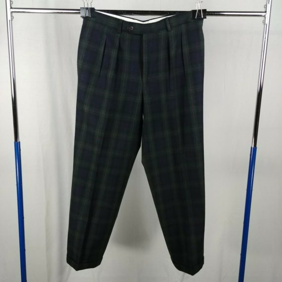 principles-blue-green-plaid-pleated-front-casual-pants-mens-size-36r-wool