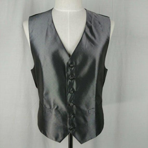 pronto-uomo-gray-formal-vest-suit-piece-adjustable-waist-mens-size-l