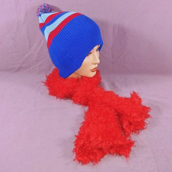 red-blue-knit-beanie-hat-pom-pom-w-red-fuzzy-knit-scarf