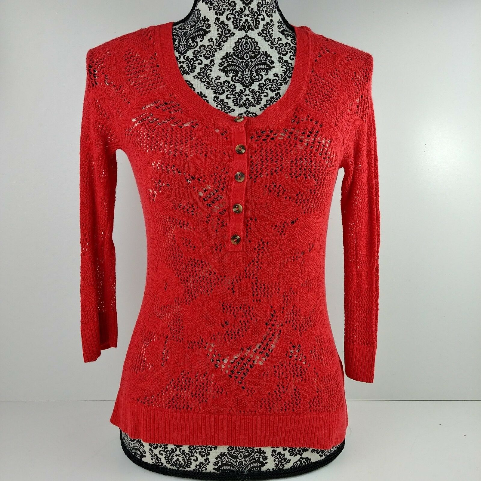 Red Crochet Womens Sweater Size Small 34 Length Sleeve Partial