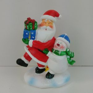 santa-claus-snowman-blue-hat-green-scarf-figurine-plaster-material-4-tall