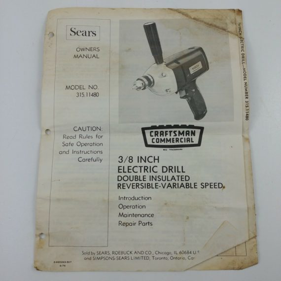 sears-craftsman-3-8-electric-drill-model-315-11480-owners-instruction-manual