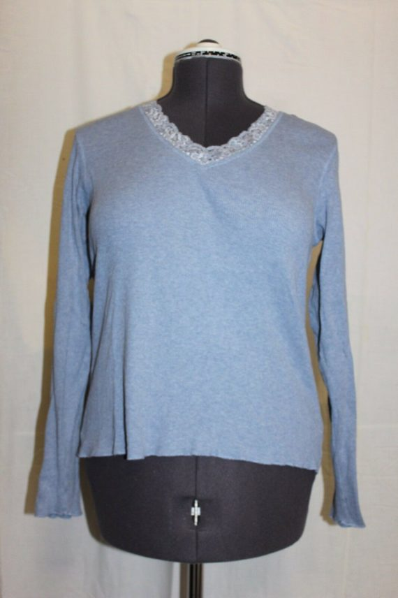 st-johns-bay-long-sleeve-light-blue-blouse-womens-size-large-100-cotton