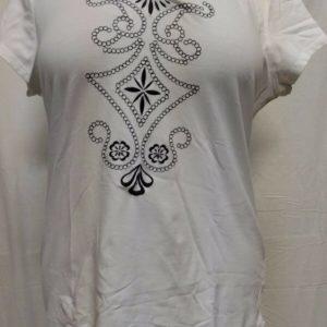 style-co-womens-white-pattern-stitched-blouse-size-large-short-sleeve
