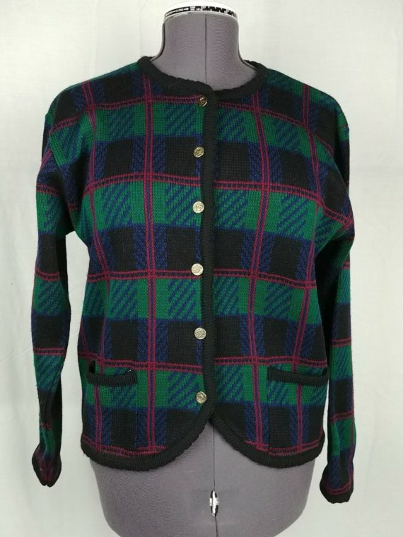 tally-ho-green-checkered-plaid-cardigan-style-sweater-acrylic-womens-size-l