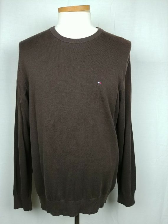 tommy-hilfiger-brown-crew-neck-long-sleeve-pullover-sweater-mens-size-l
