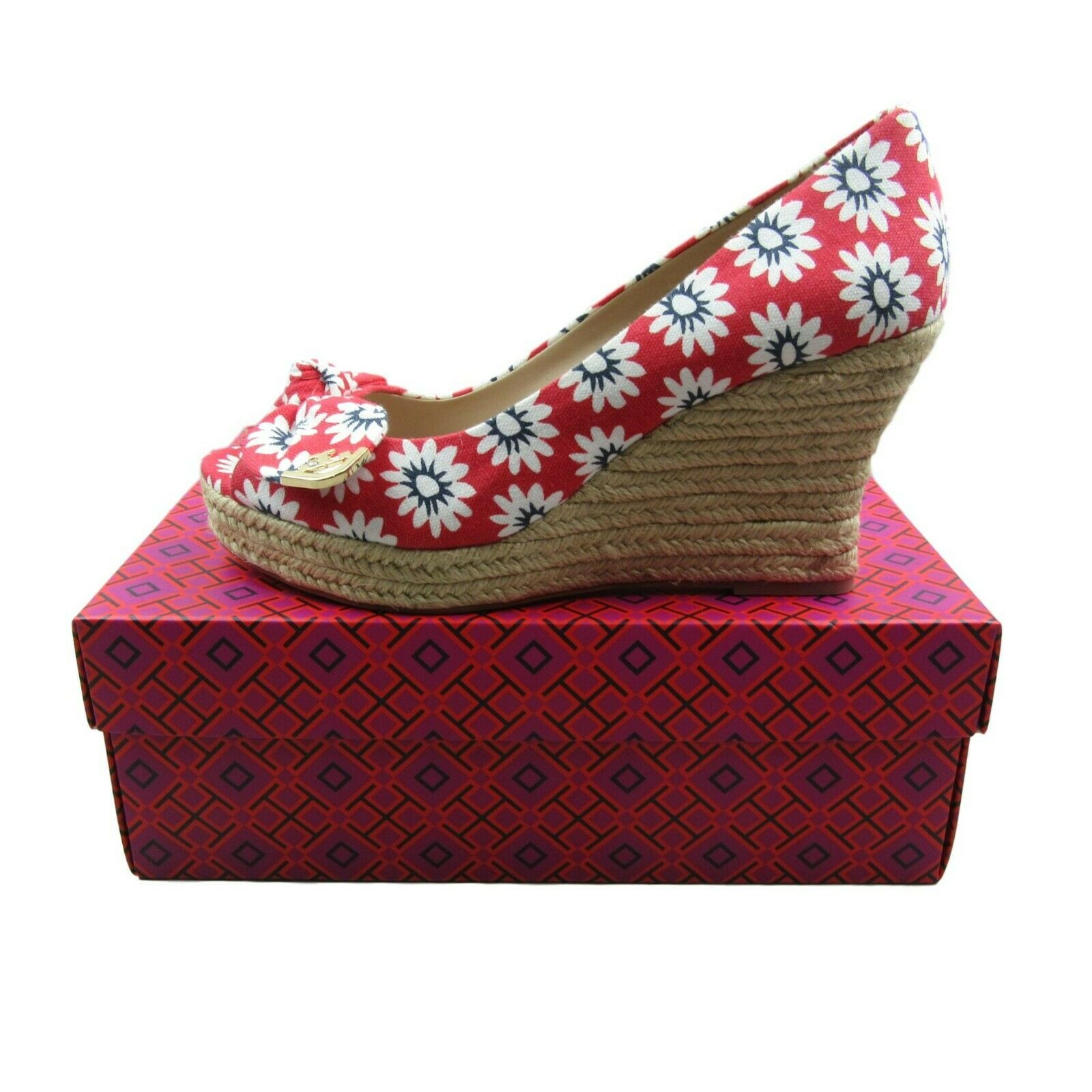 """4d40cb4e7 Tory Burch """"Dory"""" Peep Toe Wedge Espadrille Size 10 Floral Nantucket Red  Navy"""