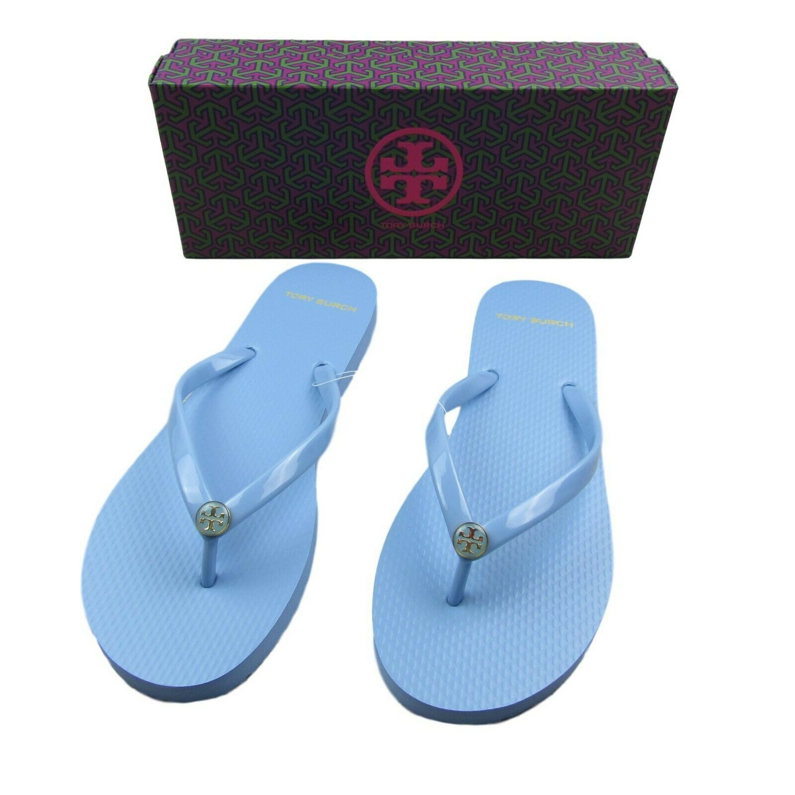 c39c1a554 Tory Burch Flip Flops Size 9 Solid Thin Light Chambray Blue New