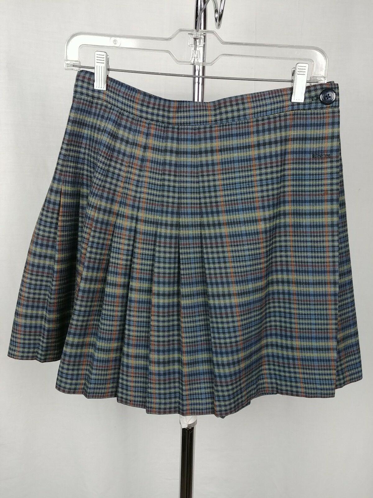 908e5a195 Tracy Evans Blue Plaid School Girl Short Pleated Skirt Womens Size 9