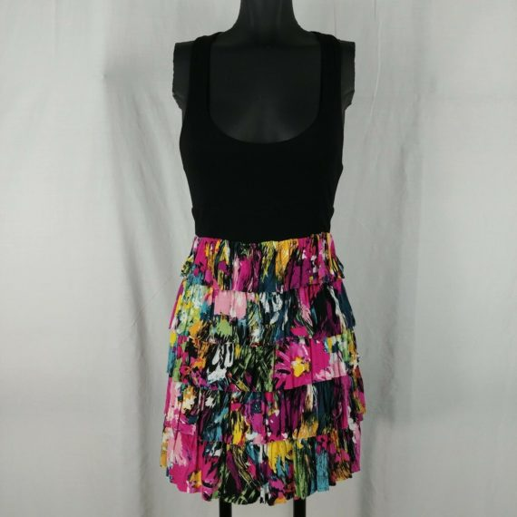 twenty-one-colorful-casual-dress-black-pink-yellow-layered-juniors-size-s
