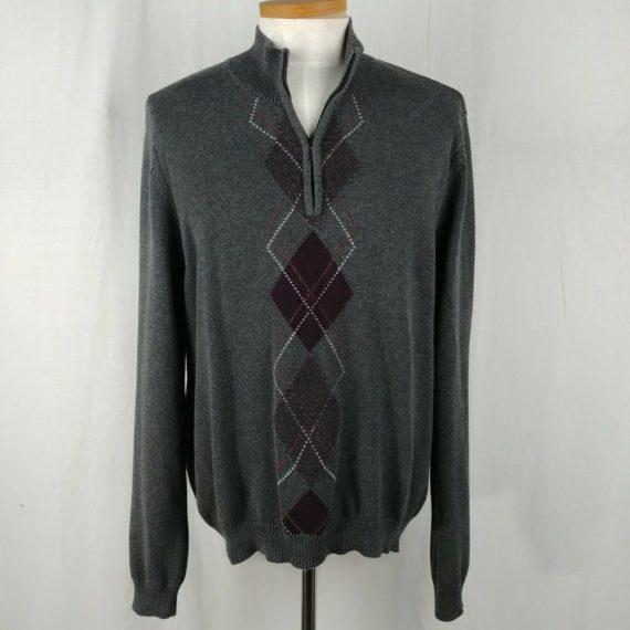 van-heusen-mens-gray-argyle-pullover-sweater-partial-zip-100-cotton-size-xl