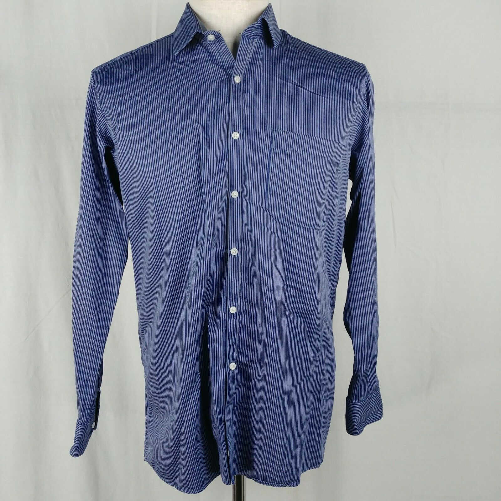 dede92bc Van Heusen Striped Blue Casual Dress Shirt Mens Size 16H 100% Cotton