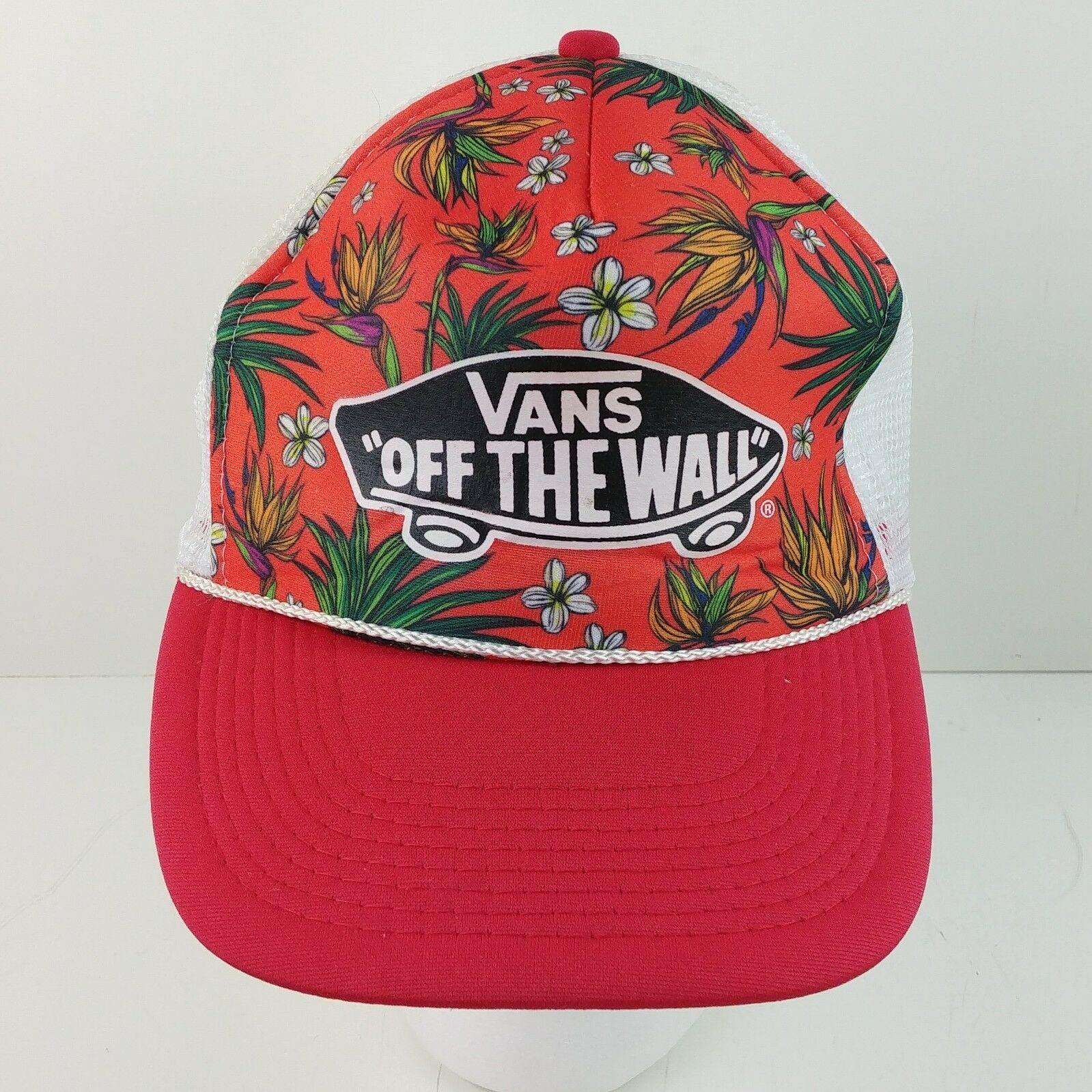 745daf9f1db Vans Off The Wall Red Floral Skateboard Logo Cap Hat Snapback ...