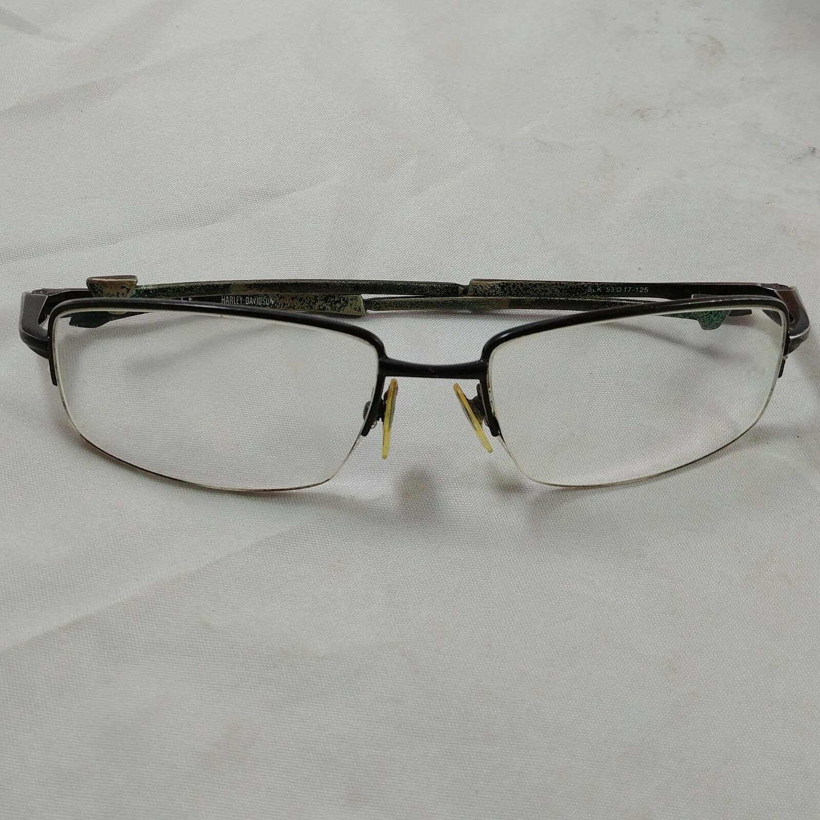 13efc85b98fda Vintage Black Prescription Eyeglasses Half Rim Harley Davidson 53-17 ...