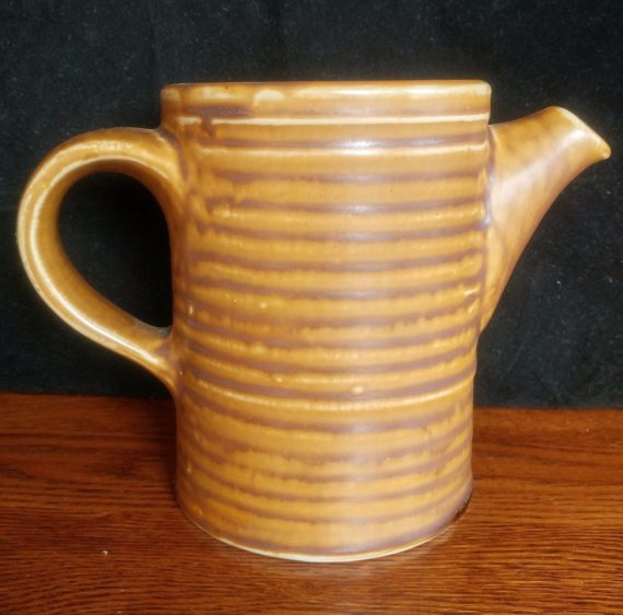 vintage-ceramic-porcelain-brown-ribbed-pitcher-vase-watering-can-hall-usa
