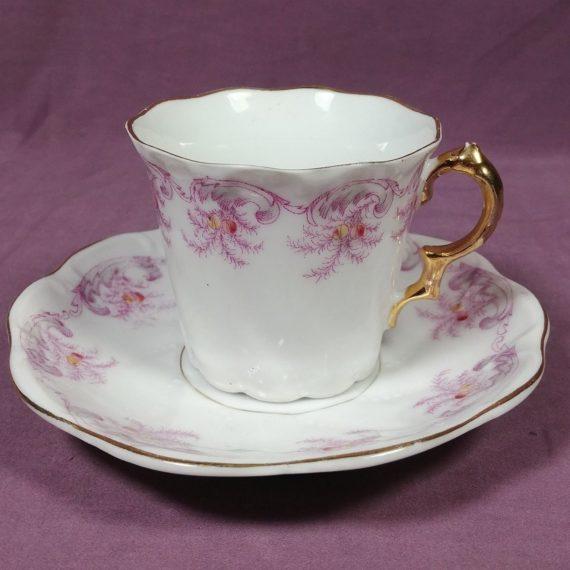 vintage-floral-pink-purple-with-gold-accents-creme-tea-cup-teacup-saucer