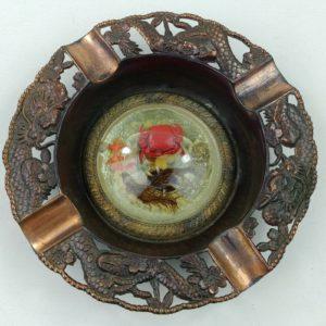 vtg-japan-copper-dragon-metal-ashtray-crab-ocean-scene-under-dome-glass-8