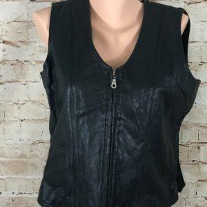 womens-black-leather-vest-cotton-back-full-zip-size-large-chandler-hill