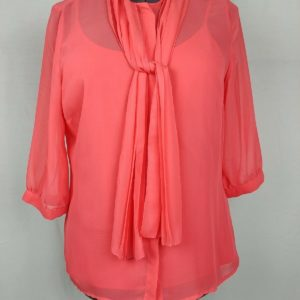 worthington-orange-tank-top-sheer-3-4-sleeve-blouse-tie-front-womens-size-l