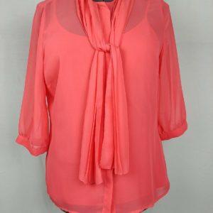worthington-orange-tank-top-sheer-3-4-sleeve-blouse-tie-front-womens-size-l
