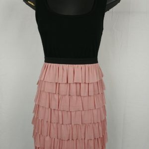 xhilaration-black-pink-ruffle-casual-dress-womens-juniors-size-m