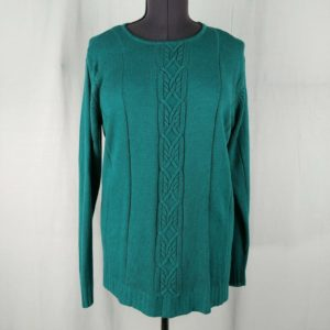 yarnworks-teal-blue-knit-crew-neck-sweater-long-sleeve-pullover-l-xl