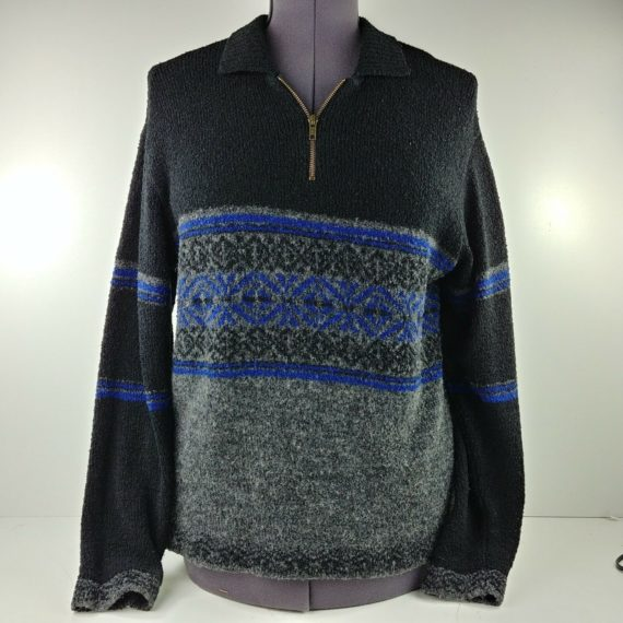 yarnworks-womens-sweater-size-medium-black-blue-nordic-pull-over-partial-zip