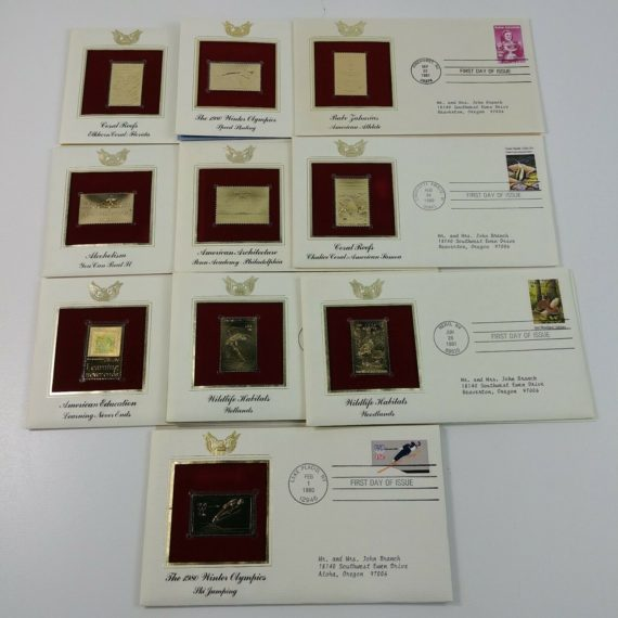 10-first-day-of-issue-22k-replica-stamps-gold-united-states-stamps-80s-lot-13