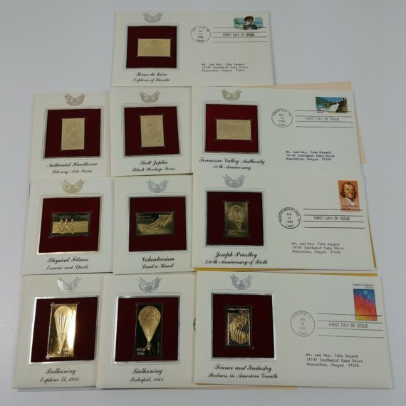 10-first-day-of-issue-22k-replica-stamps-gold-united-states-stamps-80s-lot-2